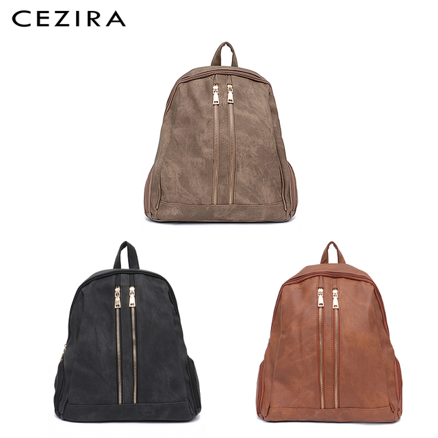 CEZIRA Fashion New Pu Vegan Leather Backpack Multi Zip Pockets Knapsack Women High Quality Bags Daily Holiday Shoulders Bags 1