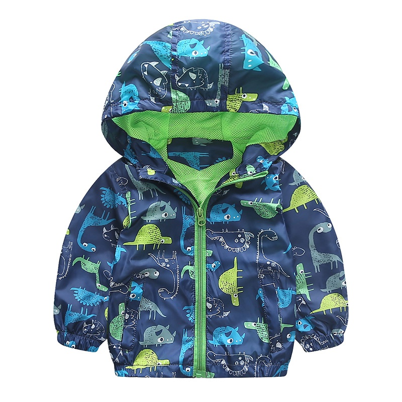 Autumn Cute Korean Style Animal Windbreaker Kids Jacket Boys Outerwear Coats Boys Kids Hooded Children Clothing