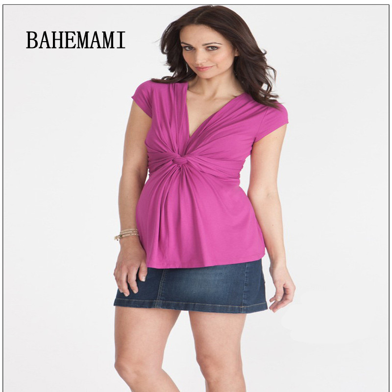 BAHEMAMI Maternity top Summer Wear New Pregnant Woman tees V Neck Short Nursing Dress for Pregnant Women Office Lady Vestidos