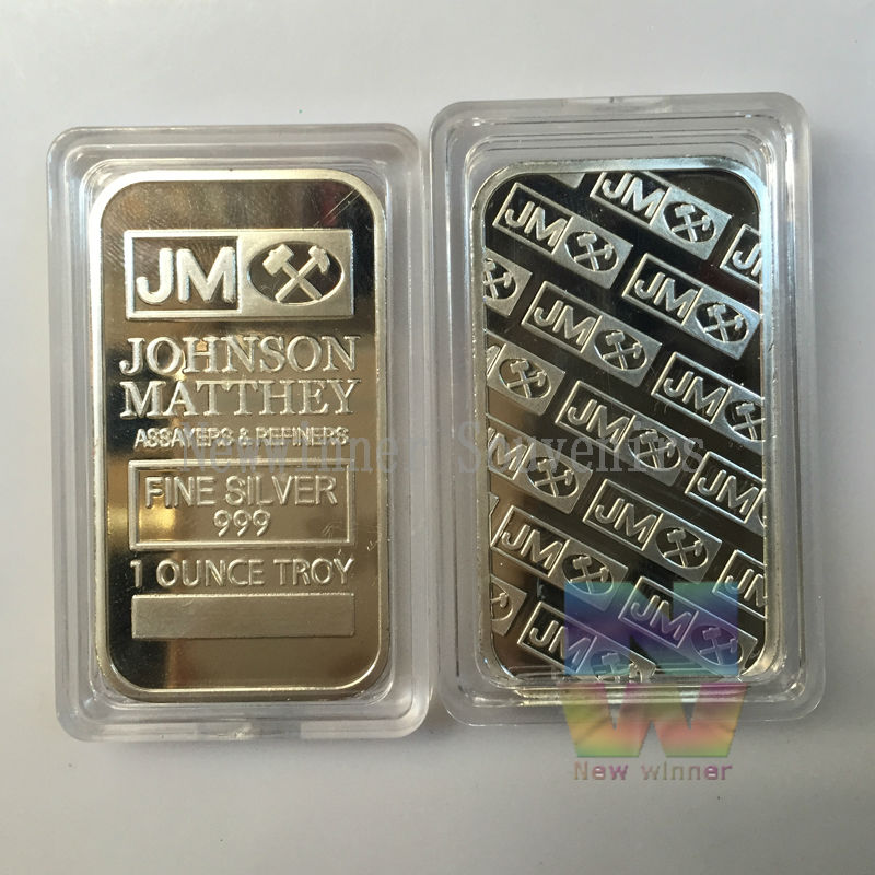 1 teile/los Johnson Matthey (JM) Vereinigten Staaten Bullion Bar Souvenir Messing Überzogene 999 Silber Bar Heiss!!!