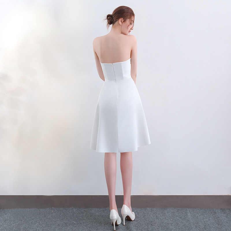 Nuovo arrivo Da Sera Dresse Formale vestido noiva sereia raso partito di promenade robe de soiree A-line stretch avorio senza spalline breve