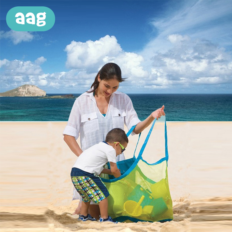 AAG Portable Baby Beach Bags Toys Mesh Bag Outdoor Children Kids Sand Away Bag Digging Sand Tool Collection Storage Hand Bags *