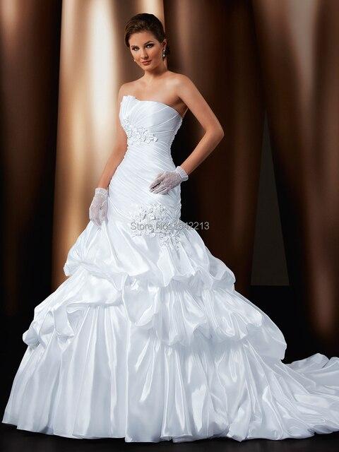 European Type White Ivory Strapless Taffeta Lace Applique Wedding Dress Bridal Gown Long Train Vestidos