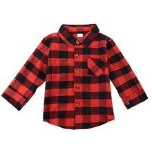 Детская клетчатая блузка для маленьких мальчиков и девочек красная рубашка в клетку с длинными рукавами Осенняя детская одежда с карманами