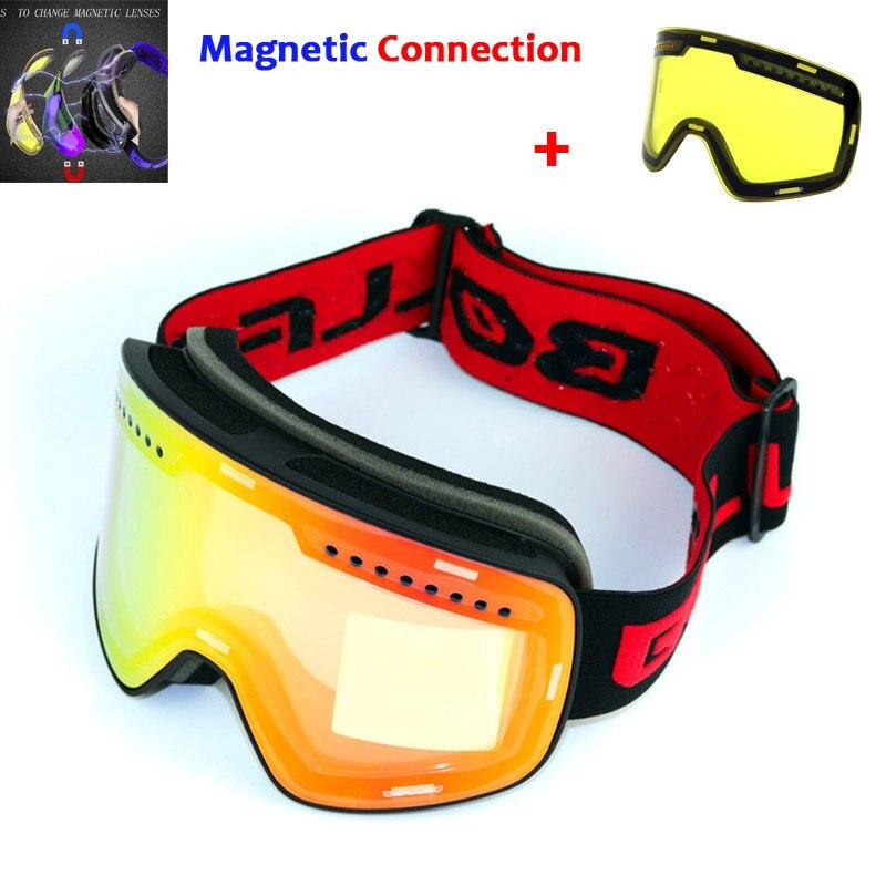 Lunettes de Ski avec lentille magnétique Double couche Ski Anti-buée UV400 lunettes de snowboard pour hommes lunettes de Ski lunettes graciées lentille