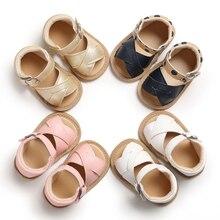 Модная одежда для новорожденных и маленьких девочек, на возраст от 0 до 18 месяцев, сандалии для первого года жизни на нескользящей подошве из искусственной кожи; обувь