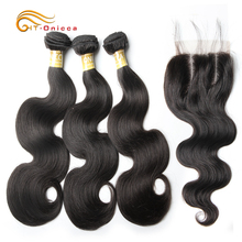Htonicca Indian Body Wave Bundles With Closure Non Remy Human Hair Bundles With Closure Free Shipping 3 Bundles With Closure