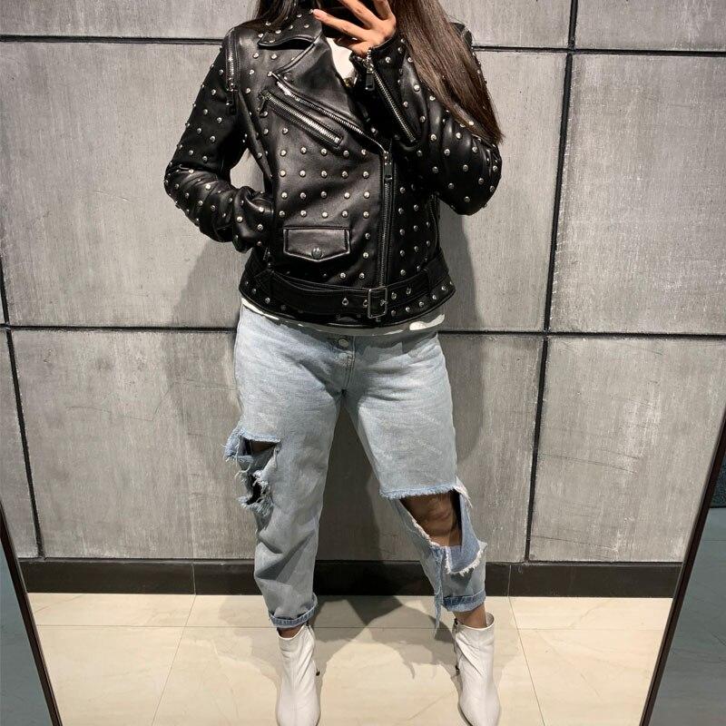 women real leather jacket rivet leather jacket