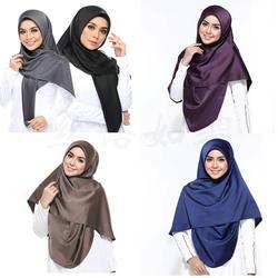 Новинка 2019 года сатиновый хиджаб шарф для женщин Малайзии Шелковый платок мусульманских sjaals voor dames Исламская одежда палантин шали
