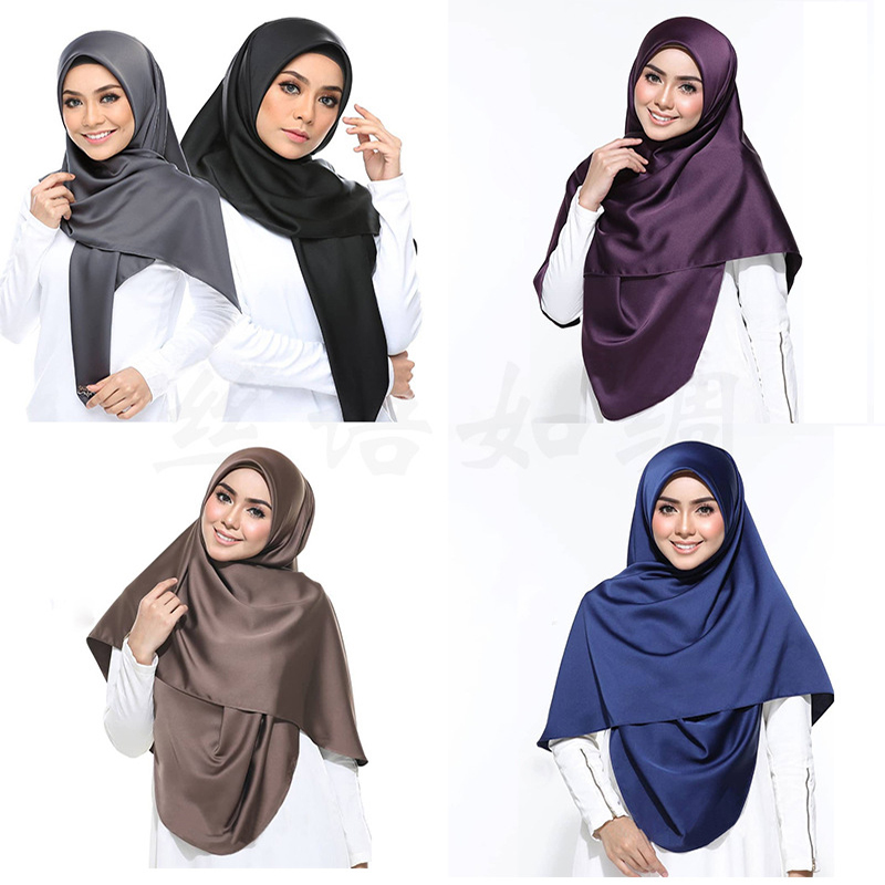2019 New Satin Hijab Scarf For Women Malaysia Silk Headscarf Muslim Sjaals Voor Dames Islamic Clothing Stole Shawls