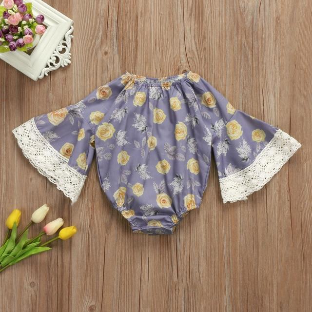 3c5784b2548b Floral Newborn Baby Girls Lace Flare Sleeve Bodysuit Jumpsuit ...