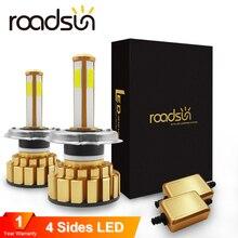 Roadsun faro bombilla LED H4 HB2 H11 H8 H9 9005 9006 HB4 4 lados H7 lámpara LED para Auto 6000K 80W 8000LM luz para automóvil con forma de mazorca Automotivo