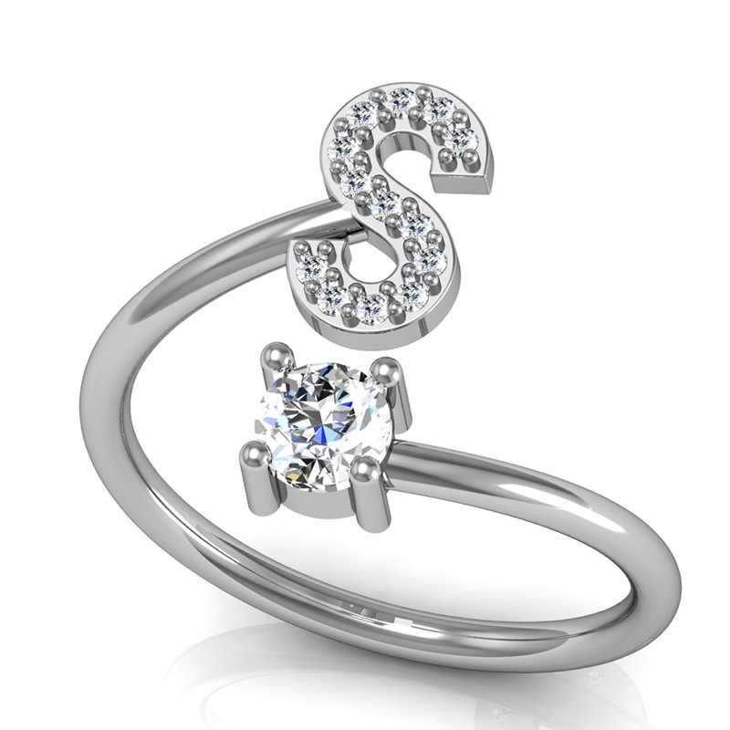 1414eb061654e ... Custom Personalized Crystal Silver Alphabet Rings A-Z Initial Letter  Name Rings Charm Letter Jewelry Fashion Love