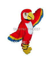 mascot Red Macaw Mascot Costume Adult Size Long Hair Birds Mascotte Outfit Suit Christmas Halloween Holiday Party Costumes