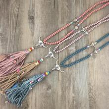 Llegó El nuevo Bohemio Étnico Tibet Nepal Joyería Artesanal Collar de Cuentas de Colores de Cadena de Cuero collar Largo Pendiente