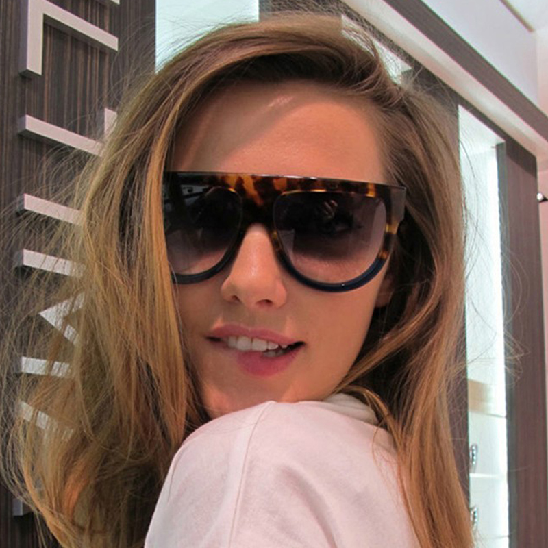 TESIA Super Quality Women Solglasögon Märkesdesigner Flat Top Female Shades 3 nitar UV400 solglasögon för kvinna T026