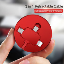 Cafele 3 In 1 Kabel USB TYPE C Micro USB Kabel untuk Iphone Charger Retractable Pengisian Kabel untuk Huawei iPhone Xiaomi Sinkronisasi Data(China)
