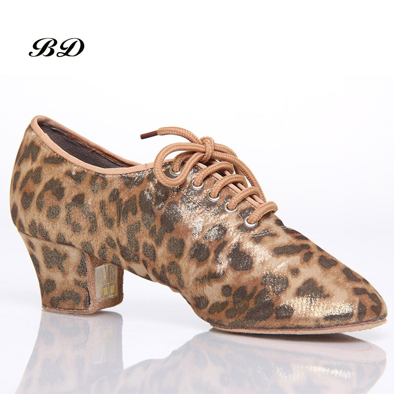 Leopard Latin Dance Shoes Sneakers WOMEN SHOES Jazz Modern Shoe Non-slip Soft Sole Vamp Heel 5 cm Slip-UP BD T1-B Ballroom SATINLeopard Latin Dance Shoes Sneakers WOMEN SHOES Jazz Modern Shoe Non-slip Soft Sole Vamp Heel 5 cm Slip-UP BD T1-B Ballroom SATIN