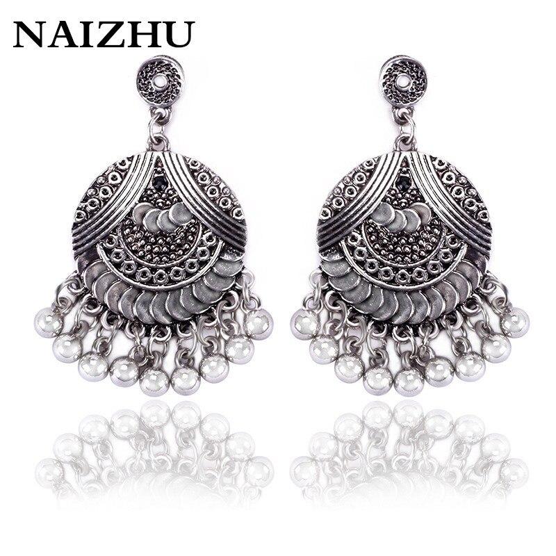 beautiful sculpture alloy pendant earrings gypsy tribal ethnic earrings boho earrings for women