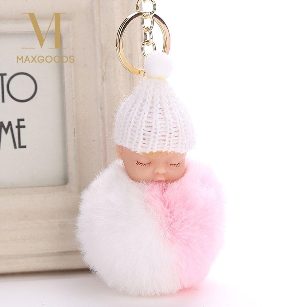 1 Pcs Nette Pompom Flauschigen Schlafen Baby Puppe Keychain Faux Kaninchen Pelz Gestrickte Hut Frauen Auto Handtasche Schlüssel Ring Schmuck Neue Ankunft Hitze Und Durst Lindern.