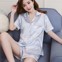 Womens Silk Satin Pajamas Sexy Pyjamas Set Short Sleeve Sleepwear 2019 Summer Pijama Women Pajamas Suit Two Piece Set Loungewear