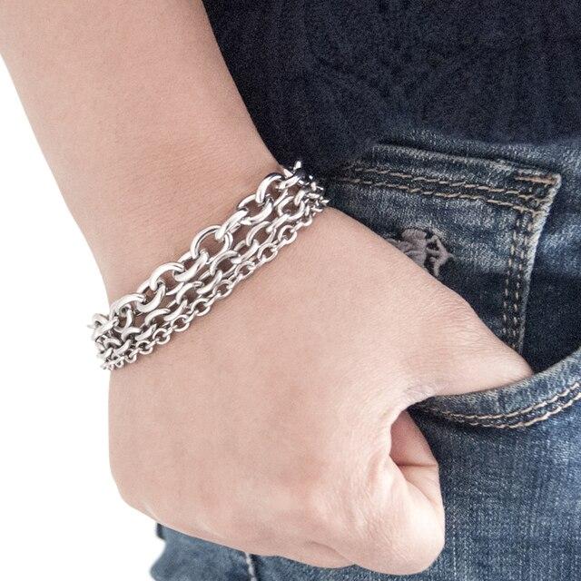 Ze stali nierdzewnej 3 w 1 duży Rolo Link bransoletki i łańcuszki na rękę mężczyźni hip pop Rock grube ciężkie ręcznie akcesoria prezent dla mężczyzn mąż 10 sztuk