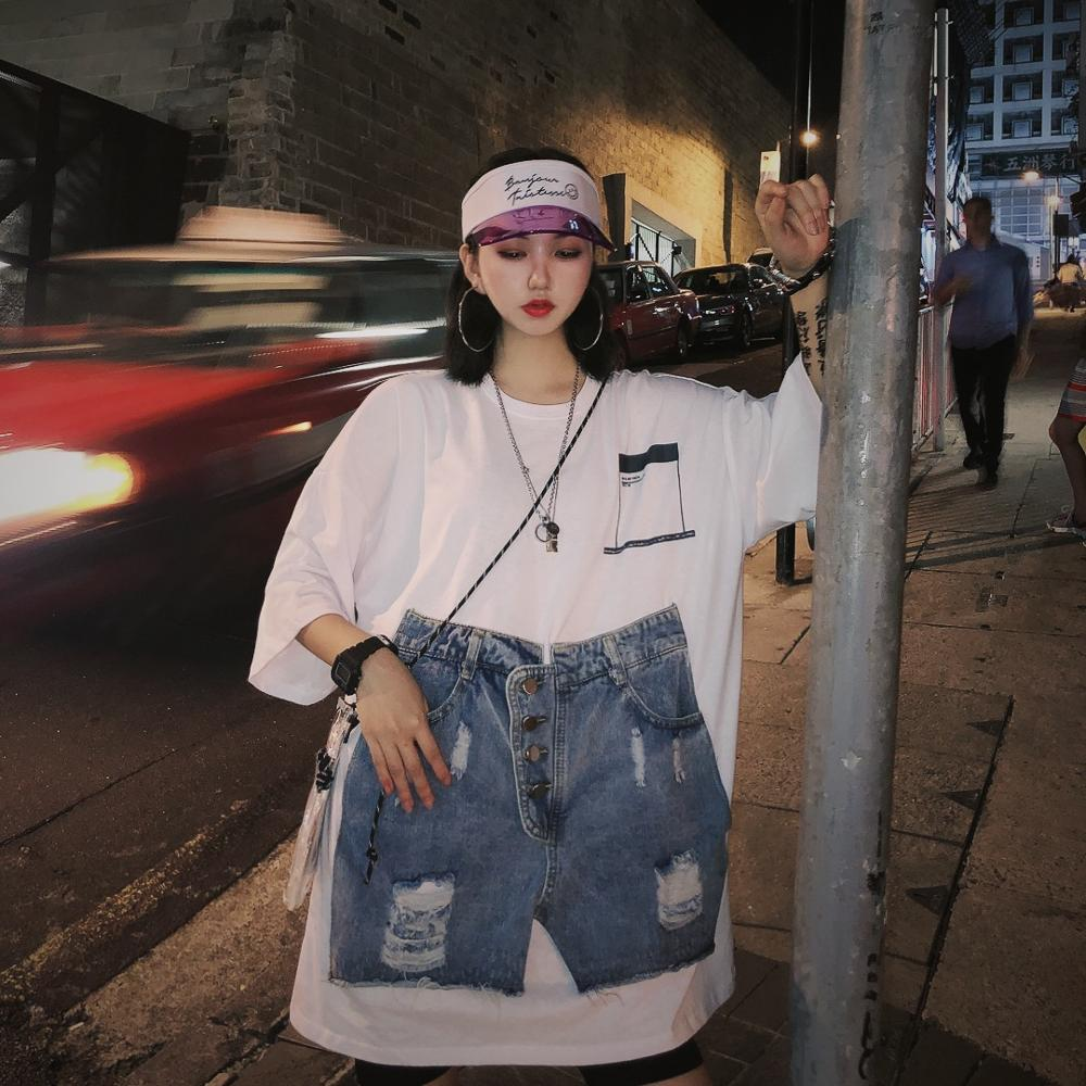 Ancient Seven-Sleeve Underwear Missing T-Shirt Spliced Shorts Style Fake Two Loose T-shirts tee women