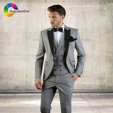 Grey Men Suits For Wedding Suit Business Custom Slim Fit Groom Prom Tuxedos Tailor Made Costumes Best Man Traje Hombre 3 Pieces