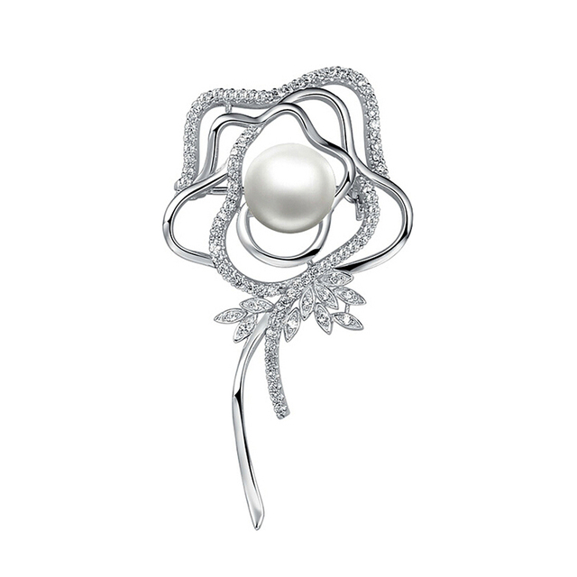 157f6c3c24e Sinya 925 sterling silver Rose Brooches for women Mother with 10.5-11mm  natural pearl Valentine's Day,birthday present HOT