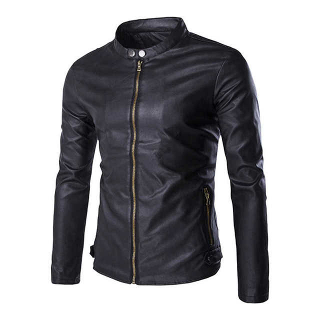 Mens Jackets Coats Casual Faux Leather Motorcycle Zipper Stand Collar Jacket 2017 Spring Winter 0987
