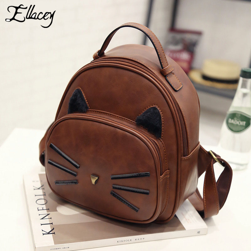 New 2017 Women Backpack PU Leather Preppy Style Vintage Creative Design Backpack Girl s Mini Lovely
