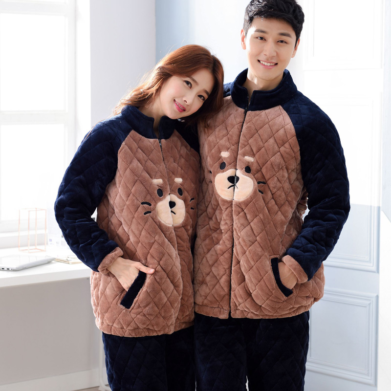 Warm Winter Soft Flannel Pajamas Sets Women/ Men Sleepwear Set For Couple Warm Animal Lovers Nightwear Female