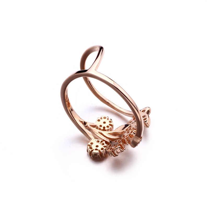ISHOWLEE ดอกไม้ผีเสื้อ Rose Gold AAA Zircon แหวนสำหรับสาวเกาหลีแฟชั่นผู้หญิงแหวนเครื่องประดับแบรนด์หรู jzb06