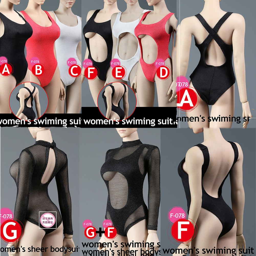 1/6 Female Sexy Cool One-piece swimsuit 1:6 Woman Swimsuit Underwear Clothes Set  For 12