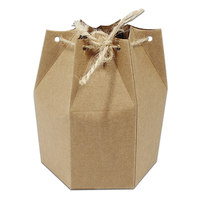 Brown Kraft Paper Box Gift Packaging Hexagonal With Hemp Rope Vintage Candy Bakery Cake Chocolate Sweets