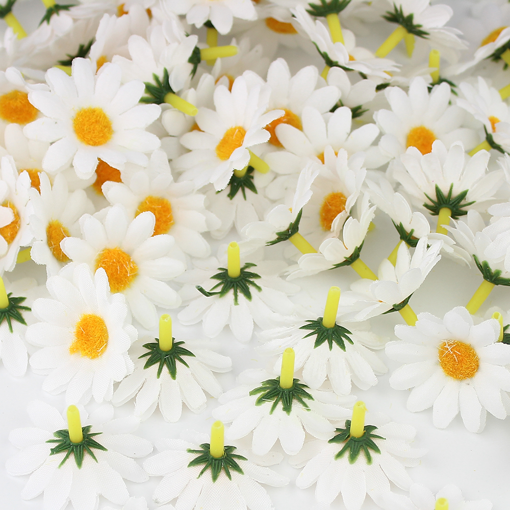 Huadodo 100pcs 4cm White Daisy Flower Artificial Silk Flowers