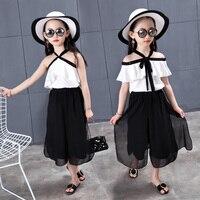 2 PCS Set Summer Baby Girls Clothes Set Solid Color Off Shoulder Top Skirt Ruffle Girls