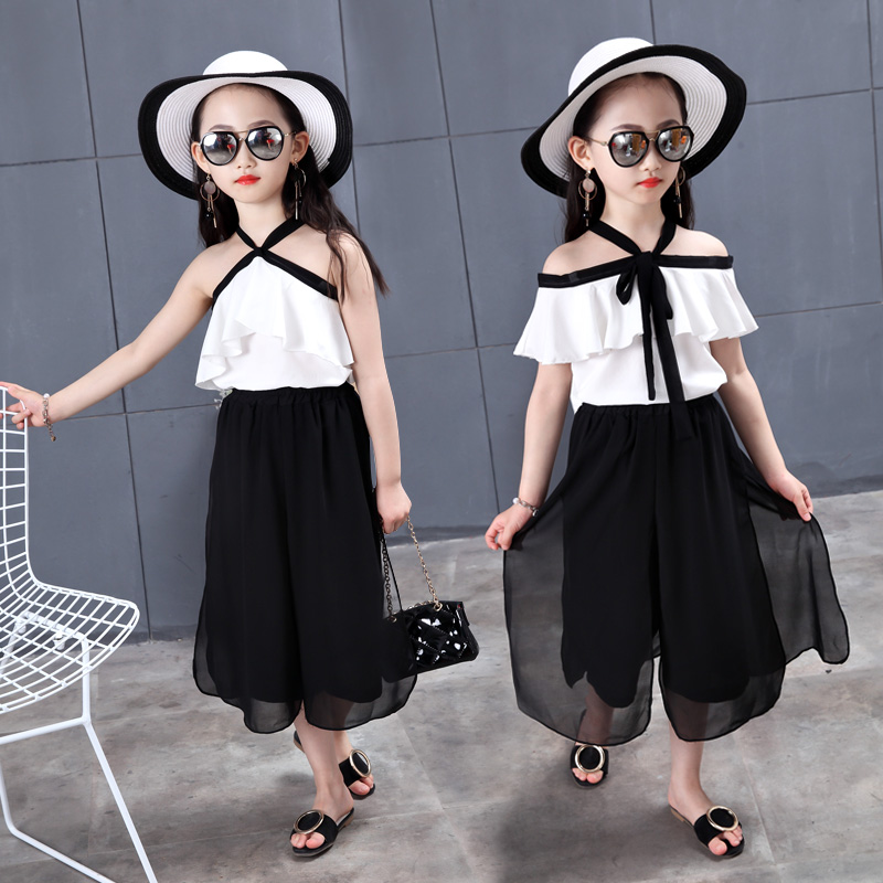 2 PCS/Set Summer Baby Girls Clothes Set Solid color Off Shoulder Top+Skirt Ruffle Girls Dress Beach Robe Fille Boutique Outfits