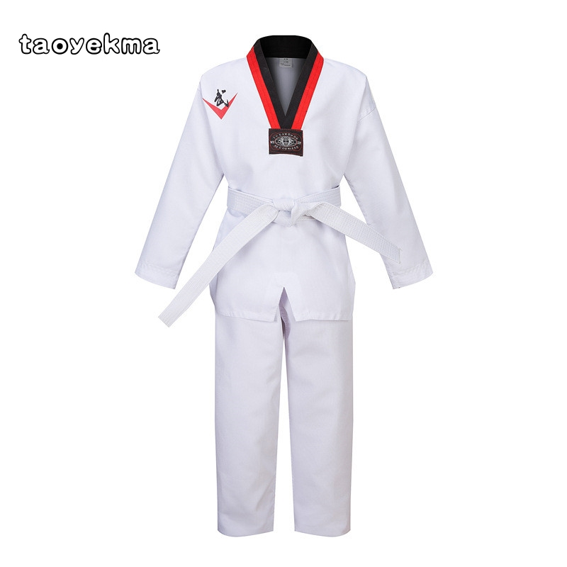 Sports & Entertainment Mooto Iiif Uniform High Quality Child Adult Wtf Taekwondo Karate Dobok Cotton Breathable Fitness Sport Clothes Suit Black V-neck Colours Are Striking Fitness & Body Building