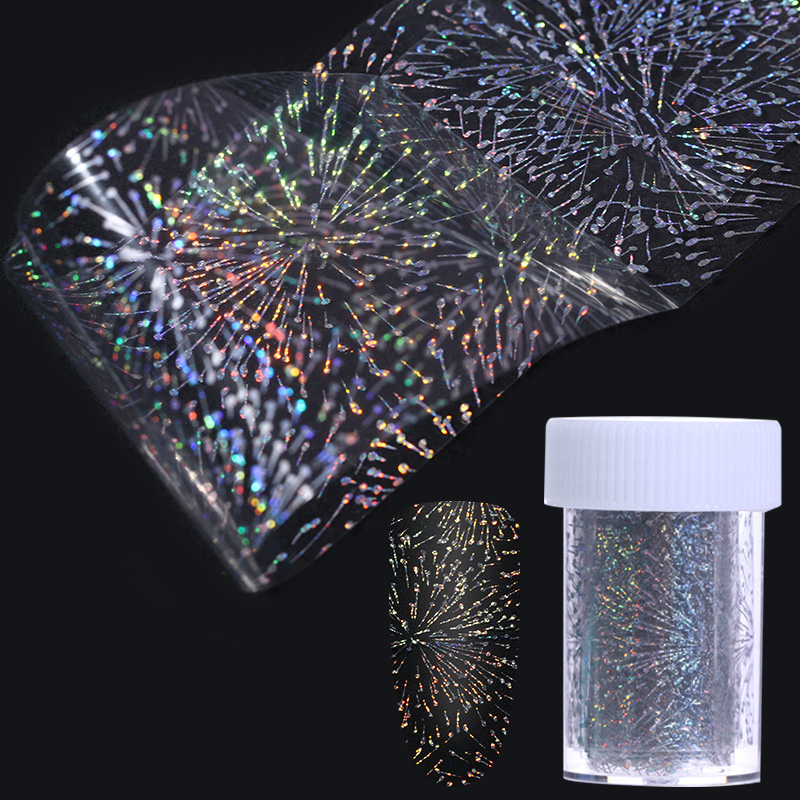 Hexagon Dot Heart Fireworks Laser Nail Foil 4*100cm Holographic Transfer Starry Sticker for Manicure Nail Art Decoration 9 rolls colorful flower nail foil 4 100cm holographic starry full fingernail manicure nail art transfer sticker
