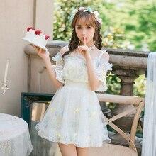Милое платье принцессы в стиле Лолиты; Новинка; летнее платье в японском стиле; милое кружевное платье с вышитыми цветами; шифоновое розовое платье; C22AB7096