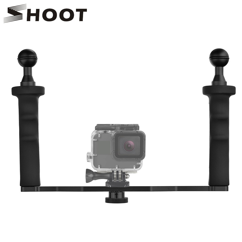 SHOOT DIY Estabilizador de mano para GoPro Hero 7 6 5 4 3+ SJCAM SJ4000 SJ7 Xiaomi Yi 4K Estabilizador para Nikon DSLR Camera Dome Port