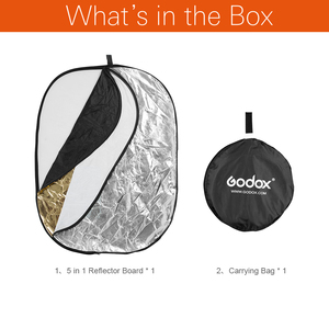 """Image 2 - Godox tablero reflector de fotografía portátil 5 en 1, 59 """"* 79"""", 150*200cm, plegable para estudio de fotografía"""