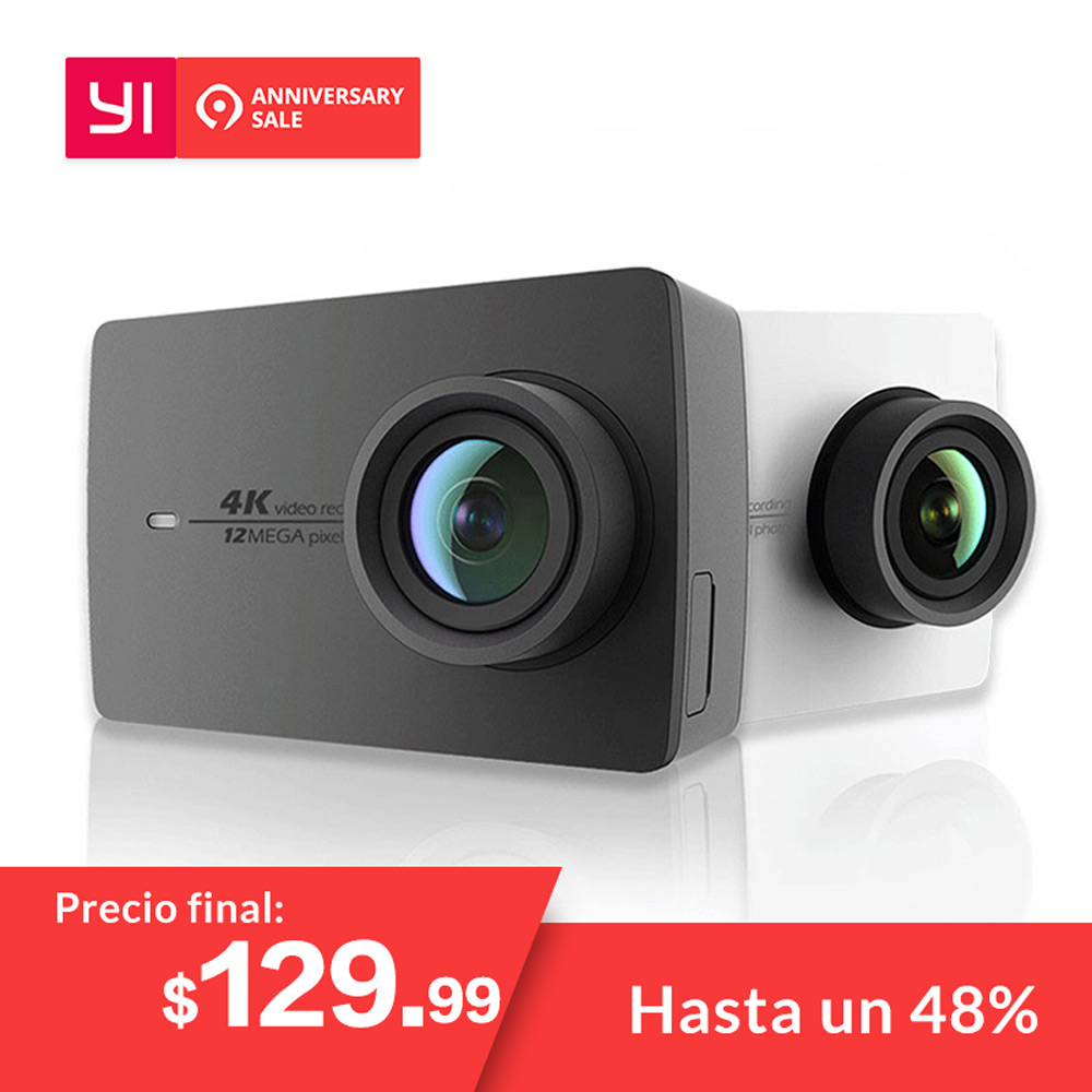 "YI 4K Action Camera Schwarz-Weiß Internationale Version Ambarella A9SE Cortex-A9 ARM 12MP CMOS 2.19 ""155 Grad EIS LDC WIFI"