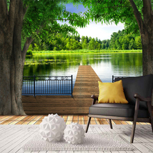 3D & 5D Papel Murals Forests Wallpaper with Lake trees and Fence Wood Road