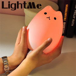 Premium 7 Colors Cat LED USB Children Animal Night Light Silicone Soft Cartoon Baby Nursery Lamp Breathing LED Night Light