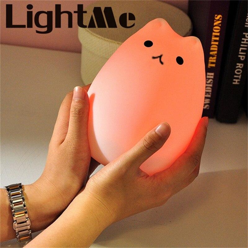 Premium 7 colores gato LED USB niños Animal luz nocturna silicona suave dibujos animados bebé Nursery lámpara respiración LED luz nocturna