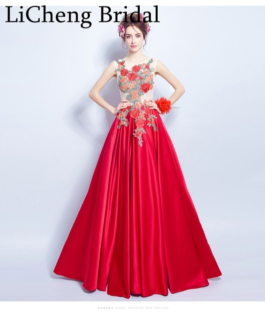 a8736bff80ae Real image red flower Appliques Prom Dress sleeveless With Big Flowers  A-line evening Dress party Prom Dresses robe de soiree