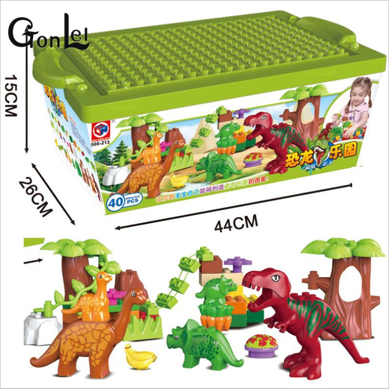 GonLeI 40Pcs/Lot Dino Valley Building Blocks Sets Large particles Animal dinosaur World Model toys Bricks Compatible Duploe