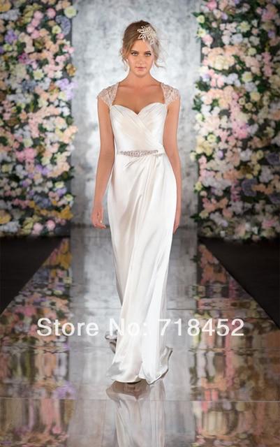 2014 las vegas vestidos de boda escarpado volver encaje vestido de